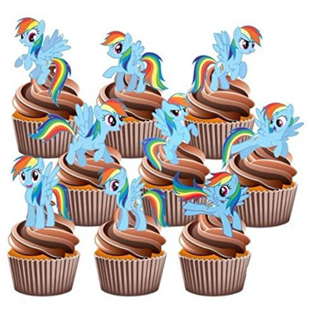 12 My Little Pony Rainbow Dash Edible Cup Cake Toppers Birthday Decorations ?