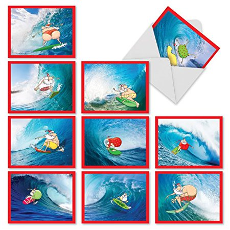'm10016xs surfing santa' 10 assorted merry christmas note cards featuring cartoon depictions of santa surfing in various colorful bathing suits with envelopes by the best card company ()