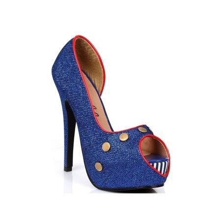 Ellie Shoes E-519-Harbor 5 Heel Open Toe Pump 6 / Blue - image 1 of 1