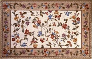 30'' x 50'' Petit Point Wool Hearth Rug Ivory Floral Vine by