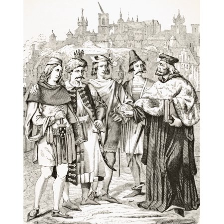 Rector Of Prague University And Scholars From Different Nations Circa 15Th Century From Science And Literature In The Middle Ages By Paul Lacroix Published London 1878 Canvas Art   Ken Welsh  Design P