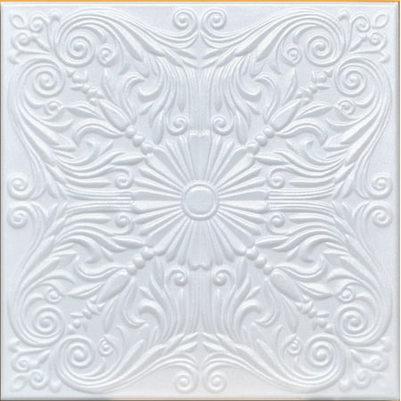 White Styrofoam Ceiling Tile Astana (Package of 8 Tiles) - same as Spanish Silver and (Reveal Edge Cutter For Ceiling Tile Installation)