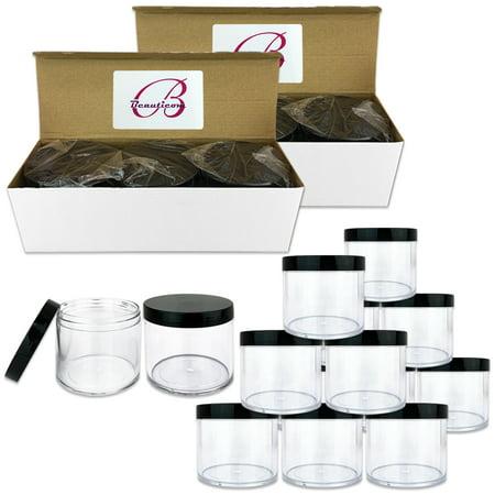 Beauticom 36 Jars High Quality 300 gram/ml 10 Oz Thick Acrylic Sample Container Jars - BPA Free (Black)