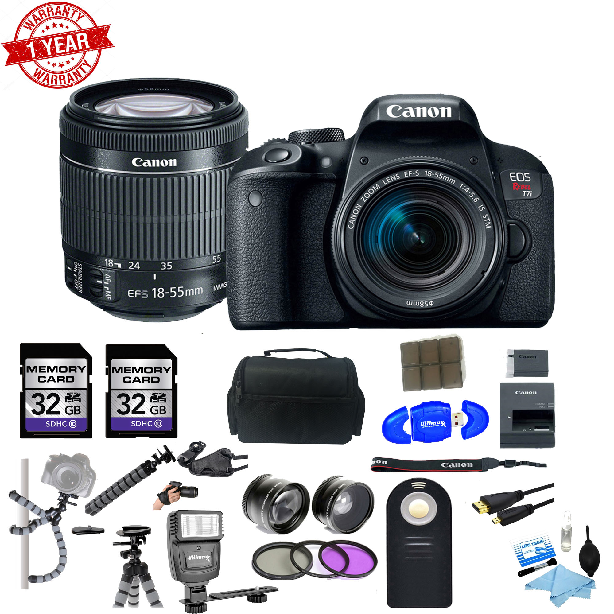Canon EOS Rebel T7i DSLR Camera w/18-55mm lens & 64GB Deluxe Accessory Bundle - image 1 of 1