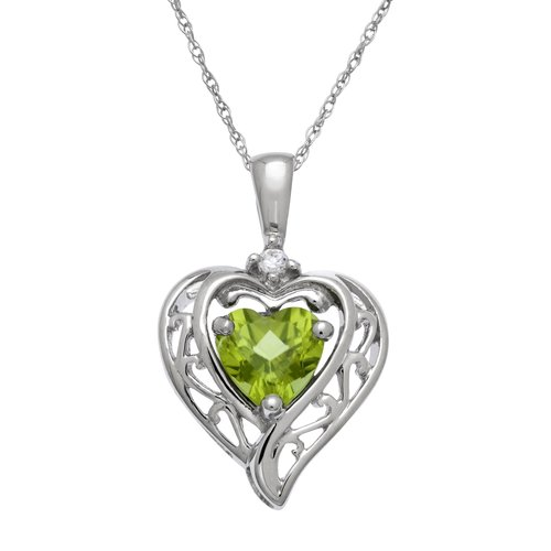 """0.9 Carat T.G.W. Peridot and CZ Sterling Silver Heart Pendant, 18"""""""