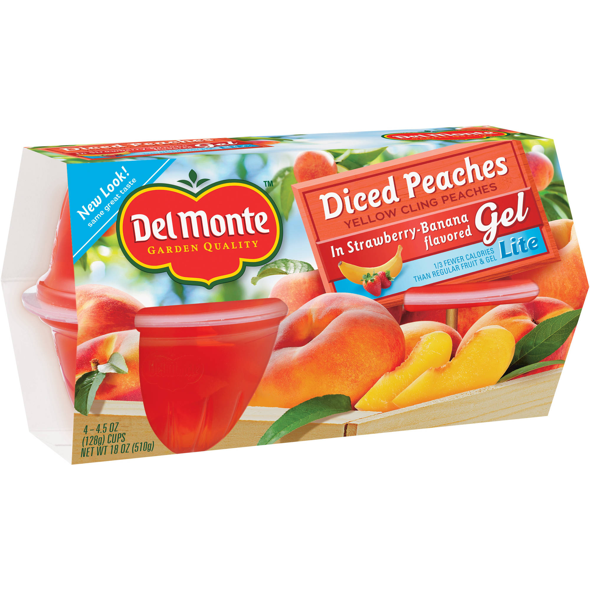 Del Monte Lite Diced Peaches in Strawberry-Banana Flavored Gel, 4.5 oz, 4 count