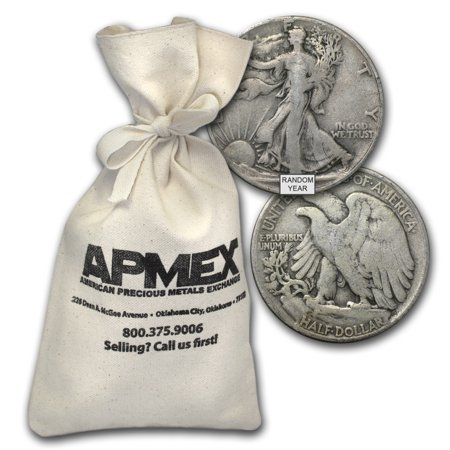 90% Silver Walking Liberty Half Dollars $100 Face-Value (1987 Walking Liberty Silver Dollar Value Chart)
