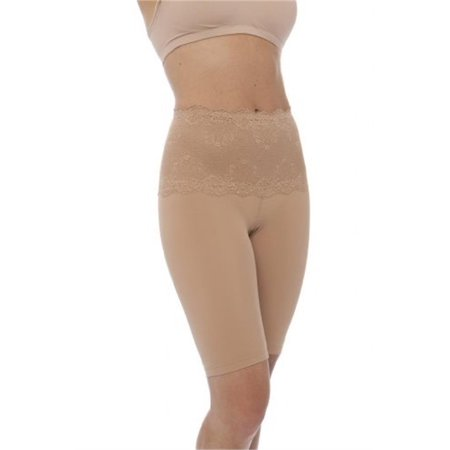 qt intimates medium control long leg shaper tummy control lace band -