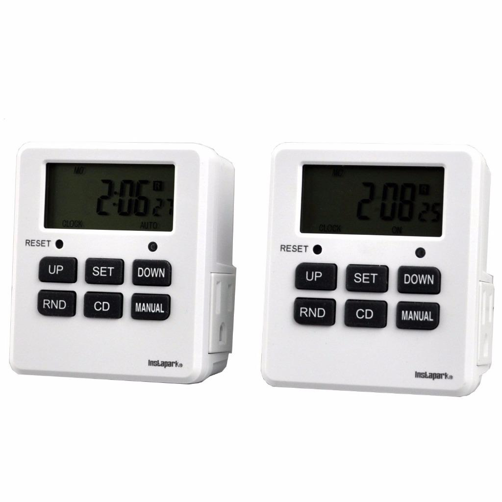 2 Pack Digital Programmable Timer TUE-19 with 7 Day, Dual Outlet, 3 Prong Socket Plug In for Heavy Duty, Indoor Use | Instapark®