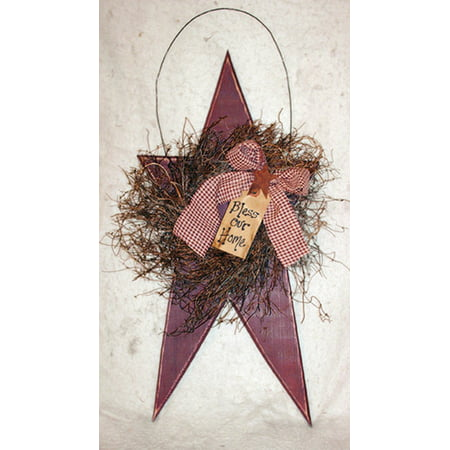Pottery Barn Wreaths - Furniture Barn USA™ Primitive Rustic Decorative Large Hanging Star with Wreath