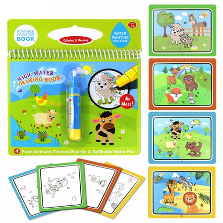 Magic Water Drawing Book Coloring Book Doodle & Magic Pen Painting Drawing  Board for Kids Color:farm