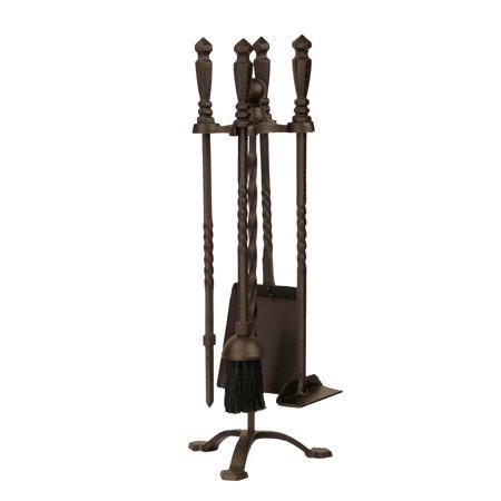 Dagan Five Piece Wrought Iron Stove Fireplace Tool Set, Bronze ()
