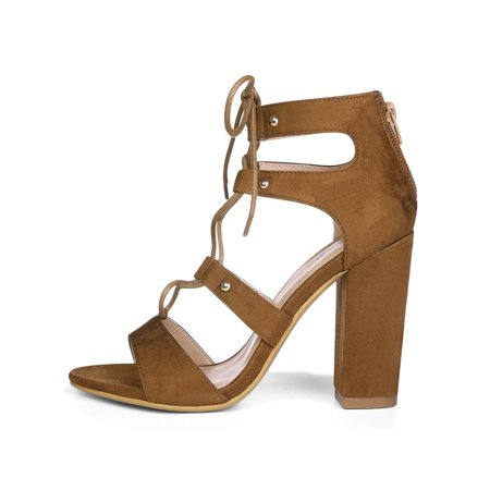 Unique Bargains Women s Chunky Heel Open Toe Lace Up Gladiator Sandals Brown  (Size 7.5) ...