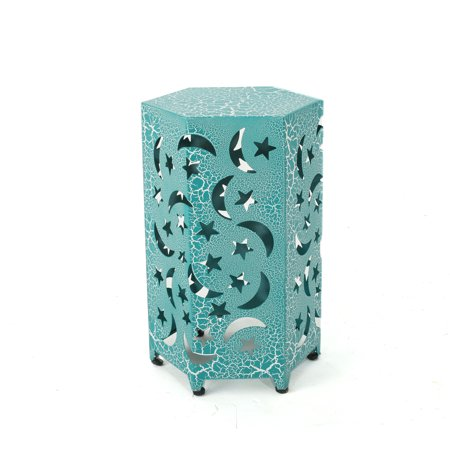 Carusa Indoor 12 Inch Iron Moon and Stars Side Table, Crackle Teal