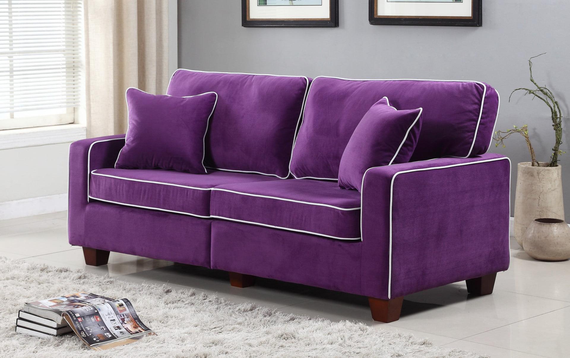 Modern Two Tone Velvet Fabric Living Room Love Seat Sofa Walmart