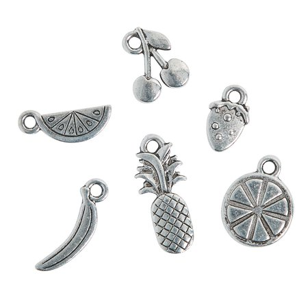 Fun Express - Silvertone Summer Fruit Charms for Summer - Craft Supplies - Adult Beading - Charms - Summer - 12 Pieces](Crafts For Summer)