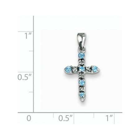 Bleu Or blanc 14 ct Topaz & Diamond Cross (de 11x22mm) Pendentif / Breloque - image 1 de 2