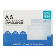 Pen+Gear A6 Invitation Social Envelopes, Peel & Stick, White, 4-3/4 x 6-1/2, 50 per Box