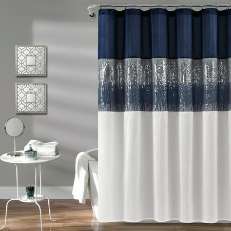 Night Sky Shower Curtain Navy/White - Lush Décor