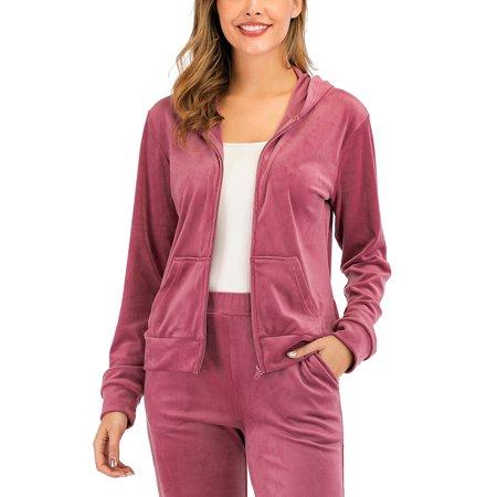 DODOING Womens Zip up Hooded Jacket Long Pant Velvet Sweatsuits Tracksuits Sport Tops Jacket Top Skirt Pants