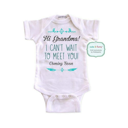 Hi Grandma! I can't wait to meet you! Coming Soon - cute & funny surprise baby birth pregnancy announcement - White Newborn Size (0-3 Mos) Unisex Baby Bodysuit - White Wolf Onesie
