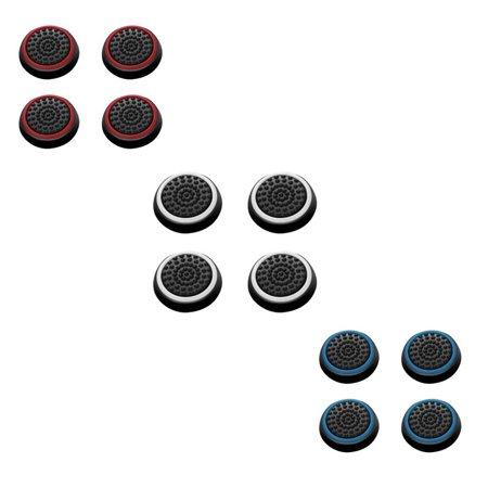 Insten 12 pcs White & Red & Blue Controller Analog Thumbstick Cap for Microsoft Xbox 360/Xbox One Sony PlayStation 2/3/4