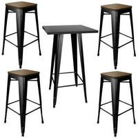 Loft Glossy Black Pub Set With Wood Top Bar Stools - 5 Piece