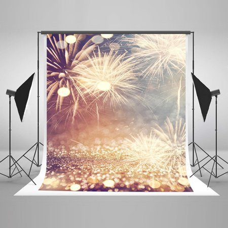 New Years Backdrops (HelloDecor Polyster 5x7ft Gold Photography Backdrop Fireworks Pattern New year Background Photos for Christmas)