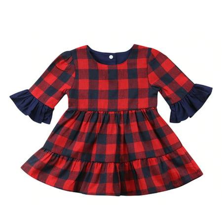 f39789fe1 StylesILove - Baby Girl Buffalo Red Plaid Ruffle Long Sleeve Christmas  Cotton Dress (90/2-3 Years) - Walmart.com