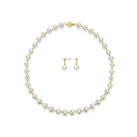 Gold Over Silver 7-8mm Freshwater Pearls with Pyramid Cut Beads and Clasp 18