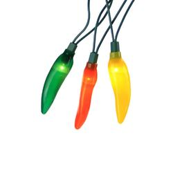 Set of 10 Yellow  Orange & Green LED Chili Pepper Patio & Garden Novelty Christmas Lights-Green Wire