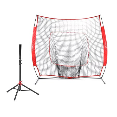 - Pinty Portable Baseball Softball Batting Tee Steel Frame with 7'x7' Practice Net