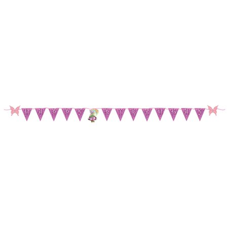 """Pack of 6 Pink and Purple Fancy Fairy """"Happy Birthday"""" Flag Banners 6'"""