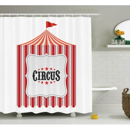 Circus Decor  Circus Tent Flagpole Classic Festival Childish Joy Leisure Themed Illustration Art, Bathroom Accessories, 69W X 84L Inches Extra Long, By - Circus Themed Accessories