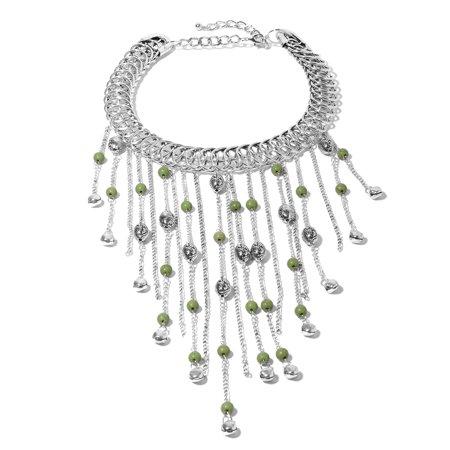 Green Howlite Beads Silvertone Fringe Choker Collar Necklace for Women 18