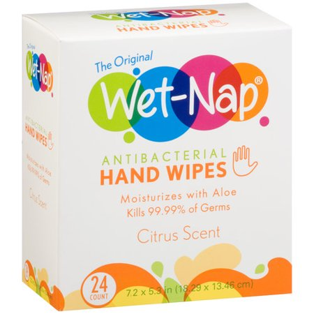 Wet Nap Citrus Scent Antibacterial Hand Wipes 24 Count