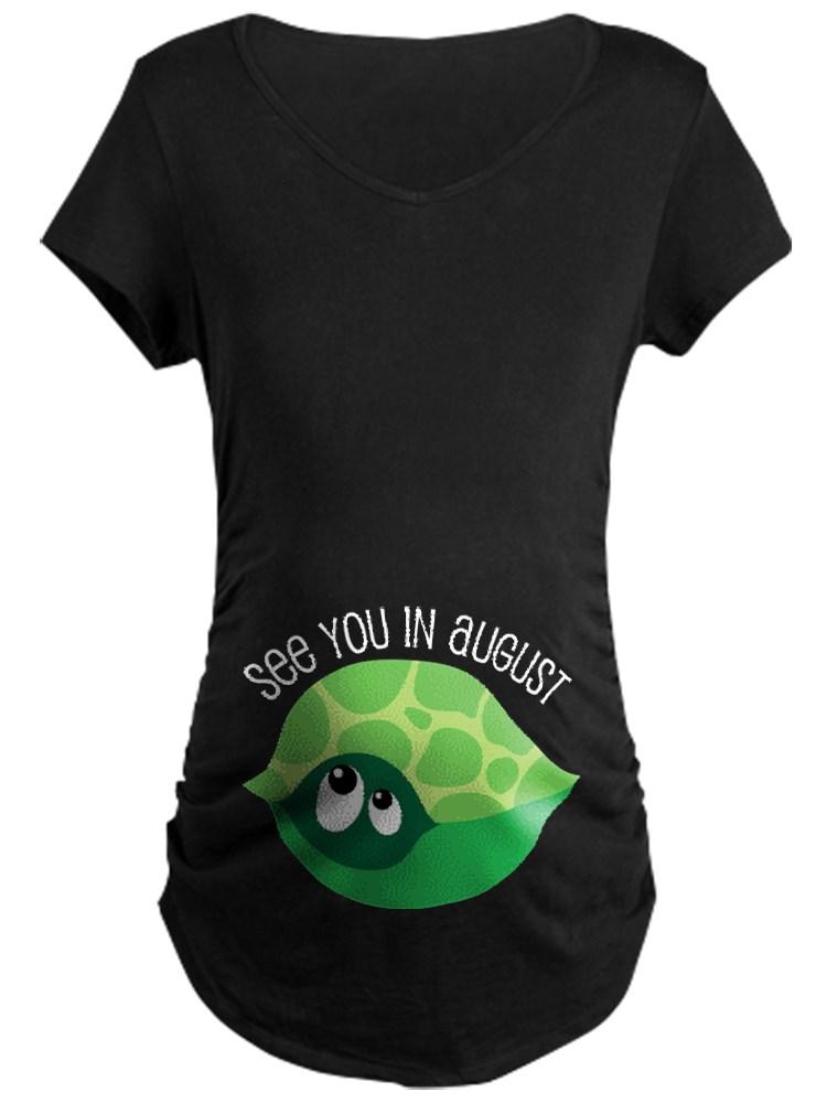 CafePress - August Due Date Turtle Belly Print Maternity Dark - Maternity Dark T-Shirt