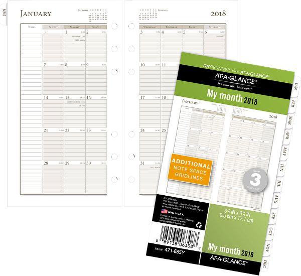 At-A-Glance Day Runner Monthly Planner Refill Size 3 Loose-Leaf Planner by AT-A-GLANCE Day Runner
