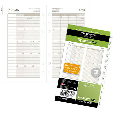 at a glance day runner monthly planner refill size 3 loose leaf