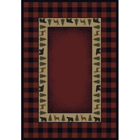 Designer Home Revival Area Rugs - 130-47636 Southwestern Lodge Red Plaid Trees Wildlife Border Rug