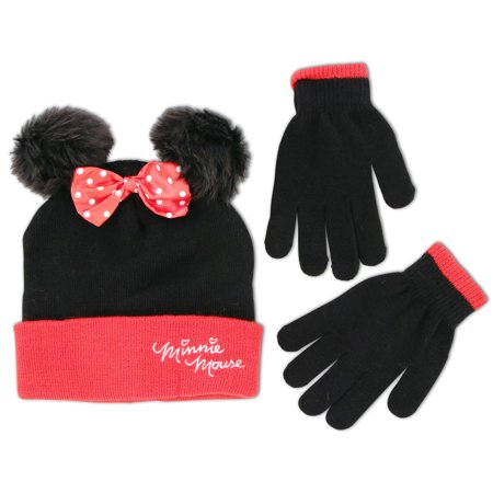 Disney Minnie Mouse Hat and Glove Cold Weather Set, Big Girls, Age 7-16 - Mickey Mouse Gloves For Adults