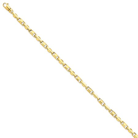 14k Yellow Gold Solid Fancy Lobster Closure 3.75mm Polished Fancy Link Chain Bracelet - Length: 7 to 8