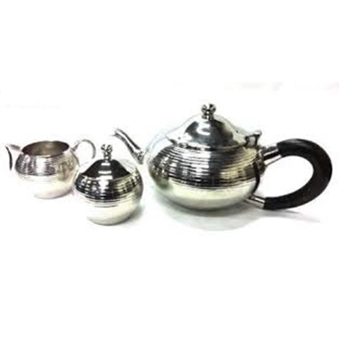 Elegance  Nickel Plated 3-pc Tea Set, Non Tarnish