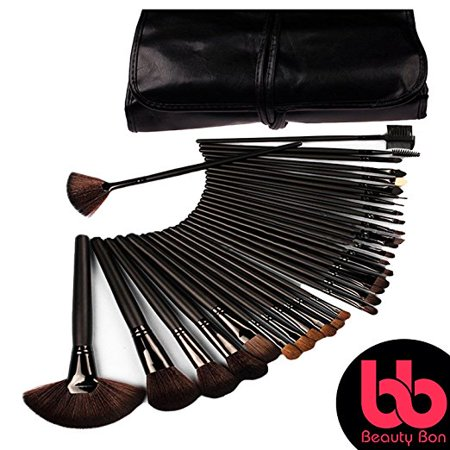 Beauty Brush Set (Professional Cosmetic MakeupBrushes Set Beauty Make Up Face Kit EyeshadowFoundationEyeliner Bronzer Contour Brush for Blending With Organizer Holder Case 32 Piece Black )
