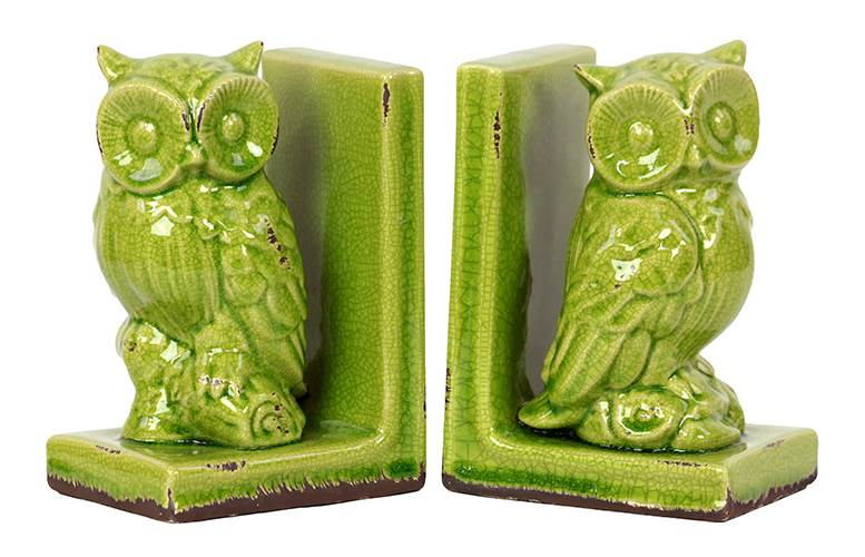 2-Pc StoNeware Owl Bookend in Green by Benzara Inc