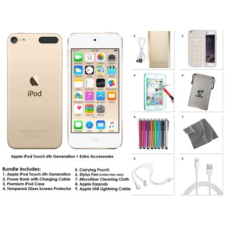 Apple iPod Touch 6th Generation 128GB - Gold + Valco Accessory Bundle ()