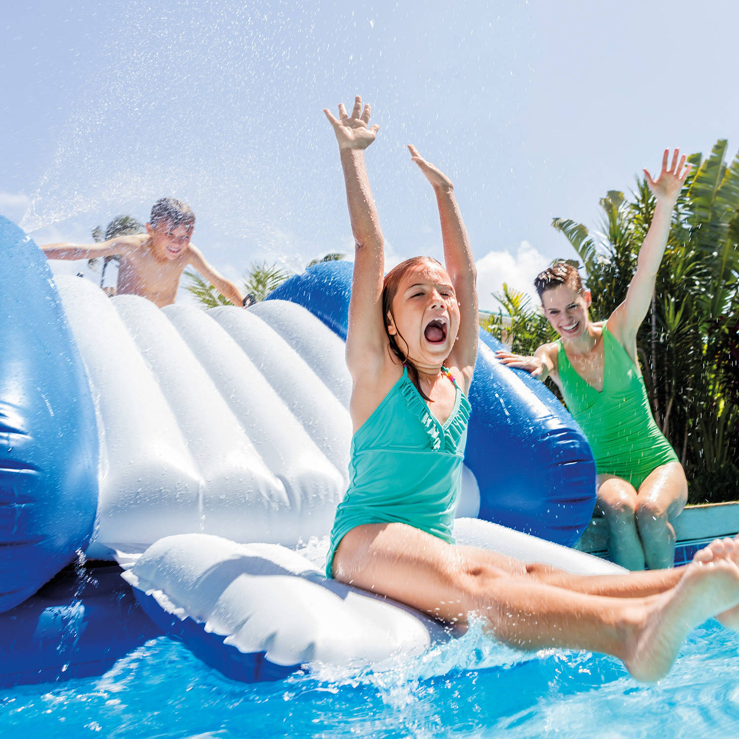 "Intex Inflatable Water Slide with Sprayer, 131"" x 81"" x 46"""