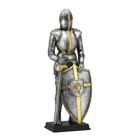 Medieval Fully Armored Metal Suit with Sword and Lion Crest Shield Figurine (Medieval Crest)