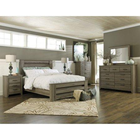 Ashley Zelen 6 Piece Wood Queen Rail Panel Bedroom Set In