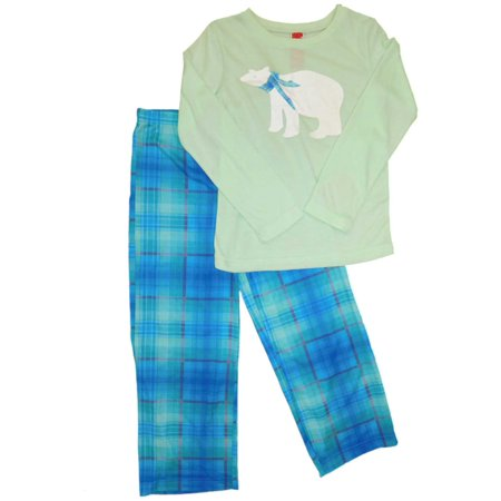 Girls Sparkling Polar Bear Christmas Pajamas Blue Plaid Holiday Sleep Set ()